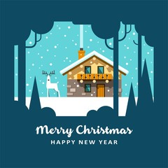 House in winter forest. Christmas card background poster. Vector illustration.