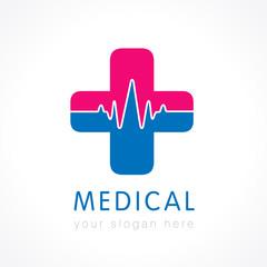 Medical care logo. Medical pharmacy cross logo design template