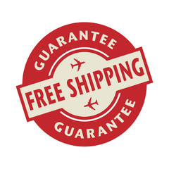 Stamp or label with the text Free Shipping Guarantee