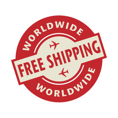 Stamp or label with the text Free Shipping Worldwide