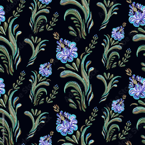 Seamless Floral Pattern On Black Background Classic Wallpaper Vintage Flower