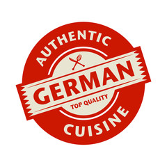 Abstract stamp with the text Authentic German Cuisine