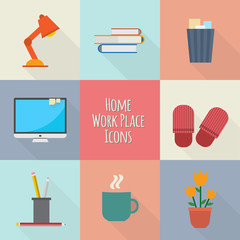 Home workplace icons set