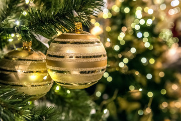 Two gold balls are on the christmas tree. Gold-green background with bokeh.