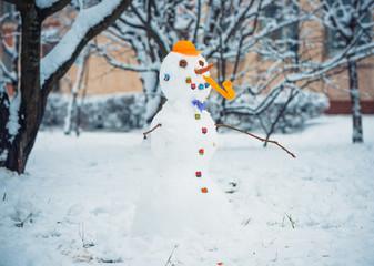 snowman at winter playground