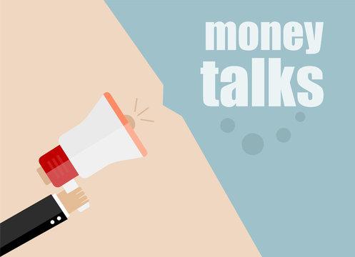 vector flat design business illustration concept. money talks. Digital marketing business man holding megaphone for website and promotion banners.