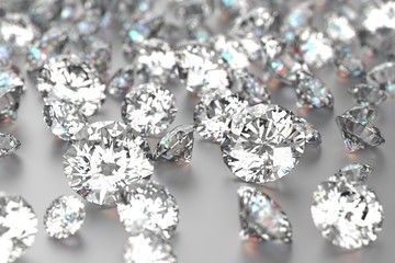 diamonds on white background with selected focus