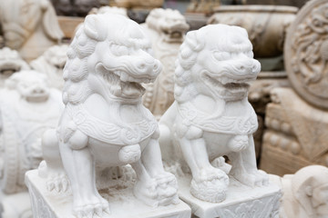 Chinese mythological sculpture in stone at a flea market