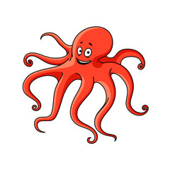 Cartoon red ocean octopus character