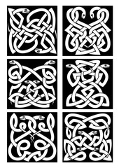 Celtic snakes knot patterns with tribal ornament