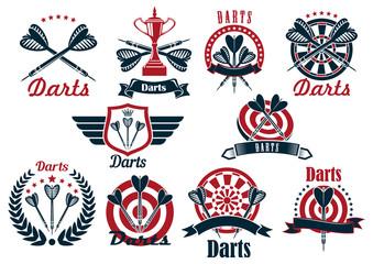 Darts game tournament symbols and icons