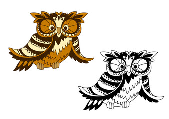Funny cartoon owl bird in outline style