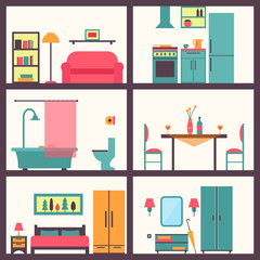 Furniture icon set for rooms of house