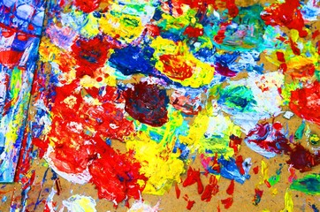 colors in the palette of the painter when drawing composition