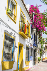 narrow streets and typical of Marbella, white walls with floral
