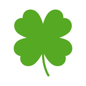 Good luck four leaf clover flat icon for apps and websites