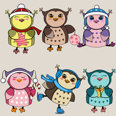 Set of funny owls.