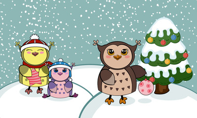 Christmas card with owls.