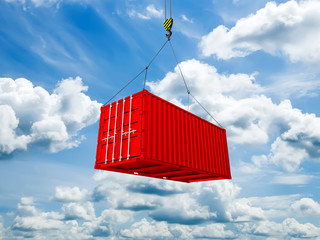 Freight shipping container hanging on crane hook