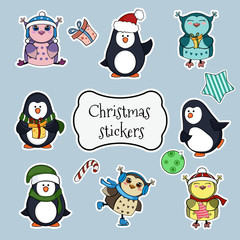 Collection of christmas stickers.