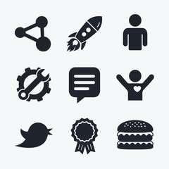 Human person and share icons. Speech bubble.