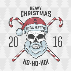 Bad Santa Claus biker with candies print design. Vintage Heavy metal Christmas portrait. Rock and roll 2016 new year t-shirt illustration