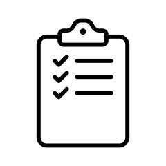 clipboard checklist survey form line art icon for apps and websites