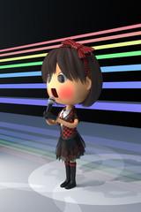 ステージで赤面する女性アイドル歌手
