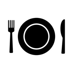 Dining flat icon with plate, fork and knife for apps and websites