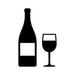 Wine bottle and glass flat art icon for apps and websites