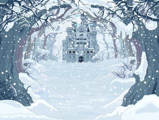 Canvas Prints Fairytale World Magic Winter Castle