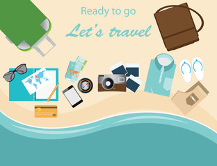 Travelers suitcase travel vacations conceptual vector illustrati