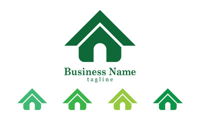 Simple Green House Icon Logo Vector With Five Colors Options
