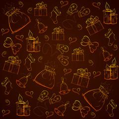 seamless golden pattern Christmas