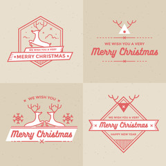 Christmas and Holiday Decoration Badges Labels Vector Set