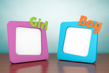 Old Style Photo. Photo Frames with Girl and Boy Signs