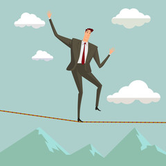 Conceptual concept of businessman or man in crisis walking in balance on rope over blue sky background,metaphor to business,danger,risk,risky,finance,fall, dangerous,equilibrium,hazard or success.
