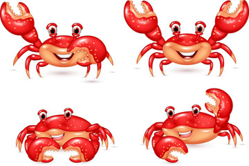 Cartoon happy crab collection set