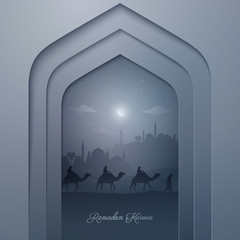 Mosque door with mosque and arabian travel on camel for Ramadan Kareem