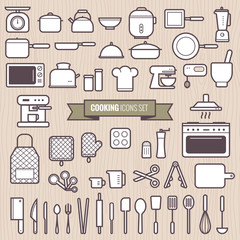 Set of cooking tools and kitchen simple line design icons set vector