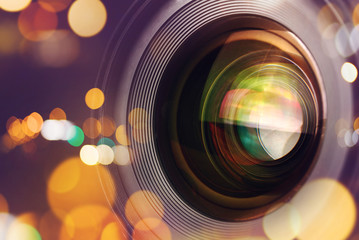 Photographic camera lens with bokeh light Wall mural