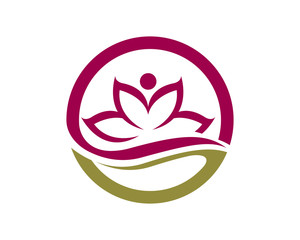 Stylized lotus flower icon vector Logo