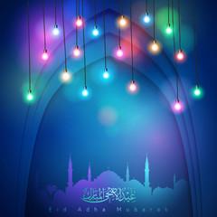 Eid Mubarak lights for greeting islamic festival celebration