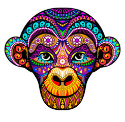 Monkey Head. 2016. Tribal colorful design. It may be used for design of a t-shirt, greeting card, a poster.