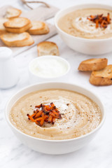 cream soup with caramelized carrots and croutons, vertical