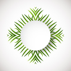 Circle green background. Ecology sign. Abstract r leaves in a circle shape