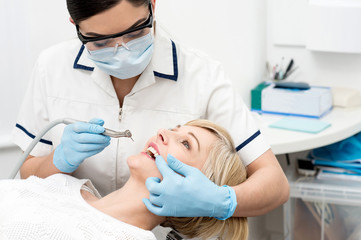 Patient getting treatment from dentist