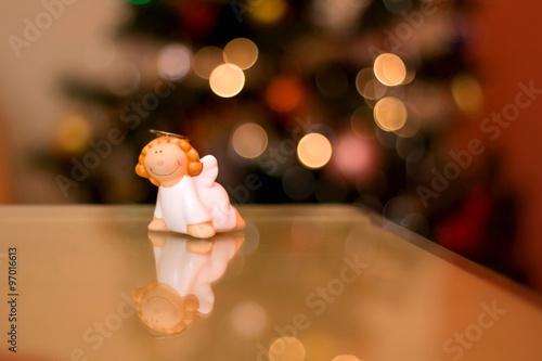 Angel Shaped Christmas Tree.Little Figurine Shaped Like An Angel Christmas Tree Bokeh