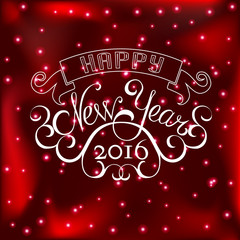 Beautiful elegant text design of happy new year on red color bac