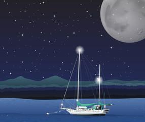 Ocean scene on fullmoon night